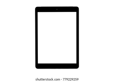 tablet black color with blank touch screen isolated on white background