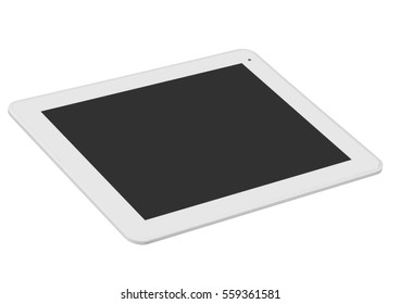 Tablet black silver metal on white background cutout isolated without screen side