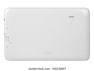 Tablet black white on white background cutout isolated without screen side metal silver