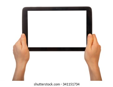 Tablet with a blank screen in female hands on a white background