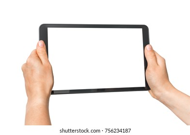 Tablet with blank white screen in female hands - isolated on white background