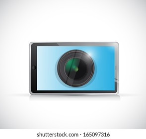 tablet and camera lens illustration design over a white background