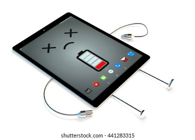 Tablet cartoon character. Low battery concept. 3D illustration. Contains clipping path.