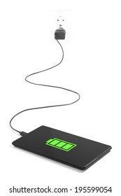 Tablet is charging from the power outlet on white background.