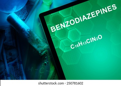 Tablet with the chemical formula of Benzodiazepines. Drugs and Narcotics
