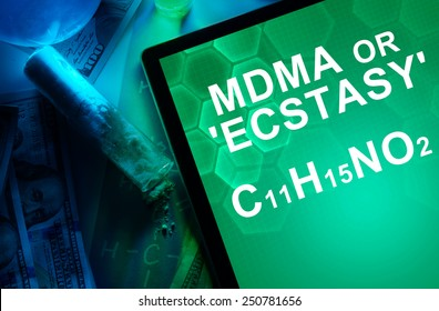 Tablet with the chemical formula of ecstasy or mdma. Drugs and Narcotics
