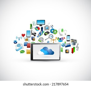 tablet and cloud computing icons cloud illustration design over a white background