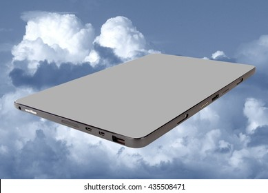 Tablet in clouds communication concept