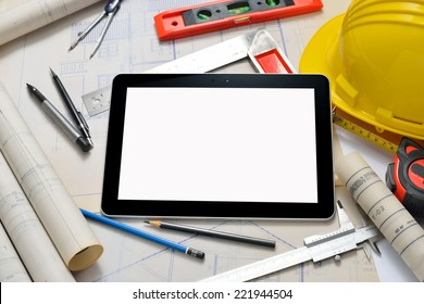 Tablet computer with architecture and construction tools and blueprints