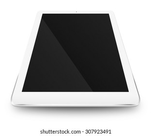 Tablet computer with black screen and shodows isolated on white background. Highly detailed illustration.