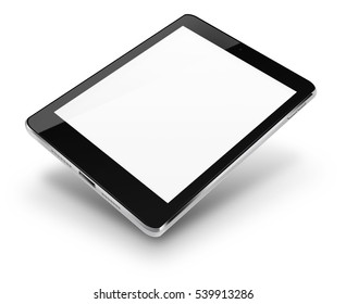 Tablet computer with blank screen isolated on white background. 3D illustration.