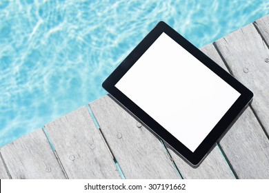 Tablet computer by the pool