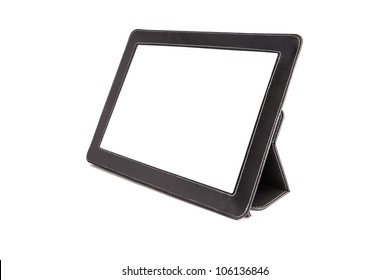 Tablet computer in cover isolated on white background