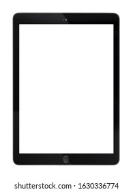 Tablet computer display with blank white screen,  Black Tablet pc isolated on white background.