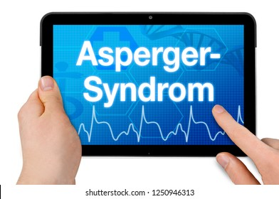 Tablet computer with the german word for Asperger syndrome - Asperger Syndrom