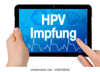 Tablet computer with the german word for hpv vaccination - HPV Impfung