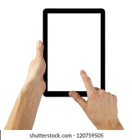 tablet computer isolated in a hand like ipades on the white backgrounds.