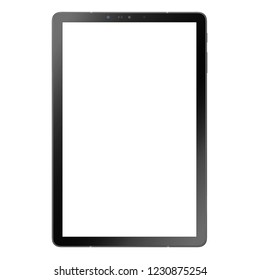 Tablet Computer Isolated on White. Front View of Modern Slim Design Tablet Computer Business Phone. Mobile Device with LCD Touchscreen Display. Portable Laptop Blank Touch Screen Monitor
