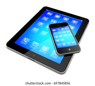 Tablet computer and mobile smartphone gadget with a blue background and apps on a device screen. Isolated on a white. 3d image