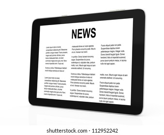 tablet computer with news isolated on white background. 3d render