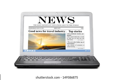 tablet computer with news on touch screen, isolated on white