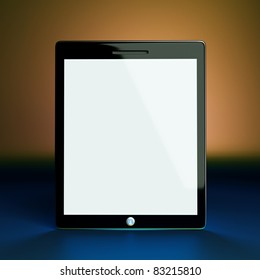 a tablet computer on color background