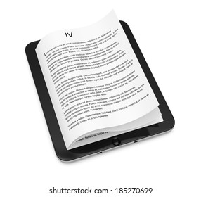Tablet computer with pages isolated on white background. 3d rendering illustration