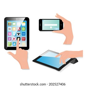 Tablet computer (pc) on white background. Raster version