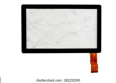 Tablet computer with touch screen glass shattered tablet computer isolated on white background