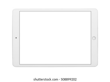 Tablet computer with touch screen. Isolated on white background