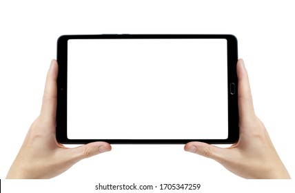 Tablet computer with white screen in hands, isolated on white background