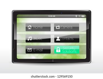 "Tablet concept with a cyan ""Security Solutions"" button"