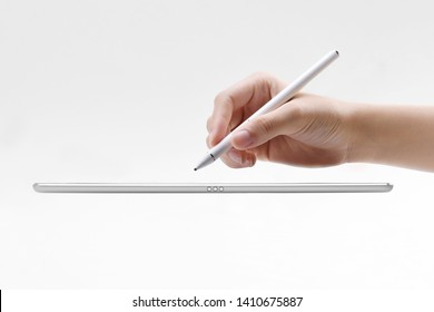 tablet with cpacitive pen stylus on isolated white background