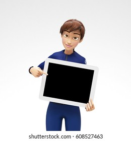 Tablet Device Mockup With Blank Screen Held by Smiling and Happy Jenny - 3D Cartoon Female Character in Sports Suit as Presentation of Information or Advertisement, Isolated on White Background
