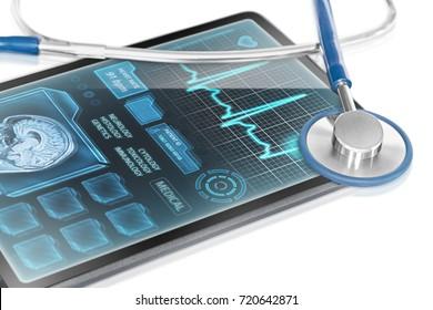 Tablet displaying medical data