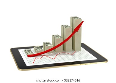tablet - dollar bar graphs showing profit grow