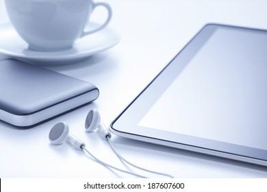 Tablet with earphones