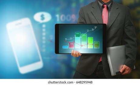 Tablet and financial graphic