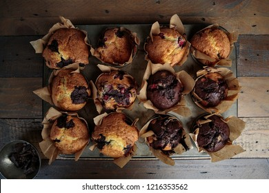 Tablet with fresh baked Home Made Cranberry Chocolate Muffins