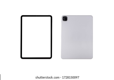 tablet front and rear isolated on white background