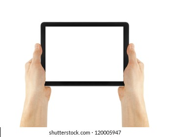 tablet in hand for advertisement