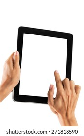 Tablet, hand, hold.