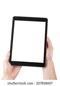 Tablet held in the women hands on a white background