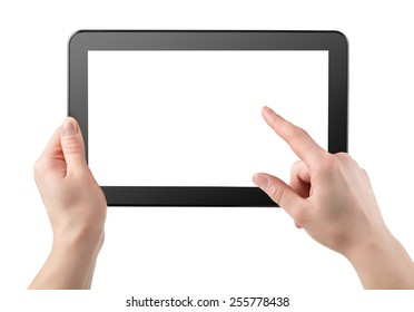 Tablet horizontally isolated on a white background