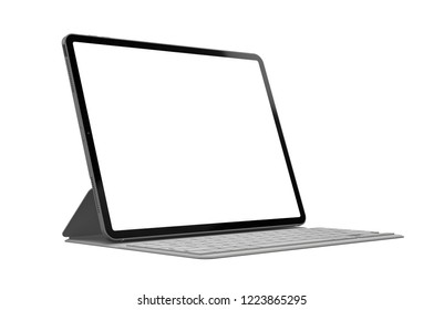 Tablet with keyboard case with blank screen template - isolated on white background