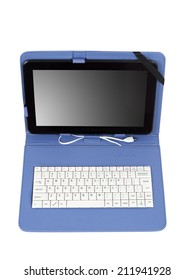 tablet with keyboard on white