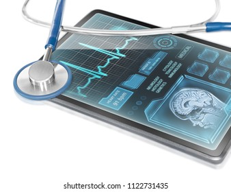 Tablet with medical data on screen