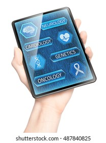 Tablet with medical menu in hand