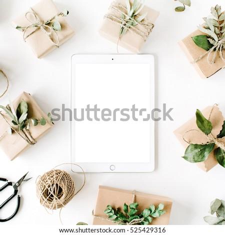 Tablet Mock Screen Beauty Arrangement Frame Stock Photo