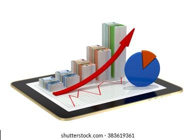 tablet - money bar graphs showing profit grow
